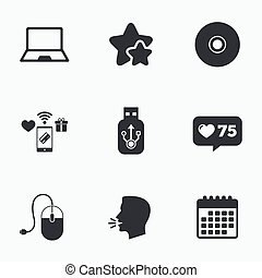 Notebook pc and Usb flash drive stick icons. Computer mouse...
