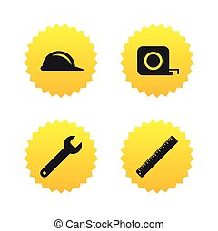 Construction helmet and ruler, roulette icons - Construction...