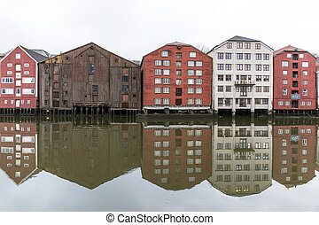 Trondheim - Wooden houses in Trondheim, Norway