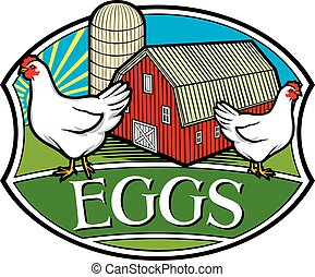 farm fresh eggs label (chicken, red barn and silo design)