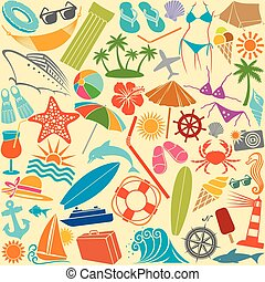 travel and summer seamless pattern