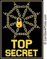 top secret design with padlock and chains