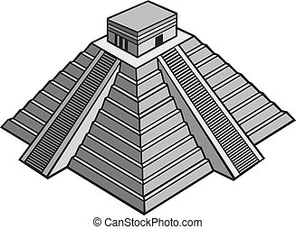mayan pyramid vector illustration (chinhen itza monument)