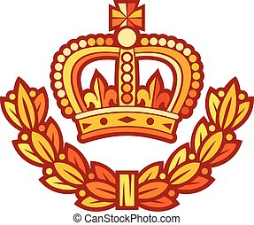 crown and laurel wreath