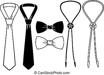 business, bow and cowboy bolo ties set