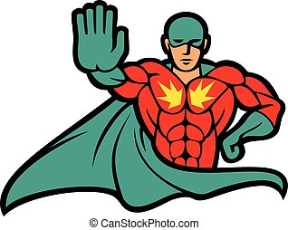superhero gesturing stop sign vector illustration