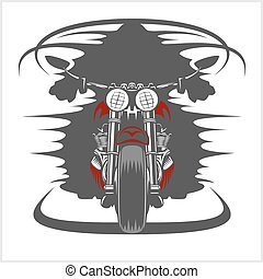 Motorcycle front view and racer - Vintage Motorcycle front...