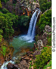 Saar Waterfalls in the spring at the Golan Heights (Israel)....
