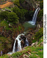 Saar Waterfalls in the spring at the Golan Heights (Israel).