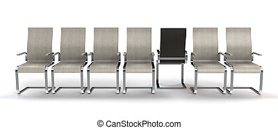 one chair stepping out of line - conceptual 3D rendering...