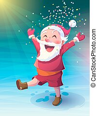 Santa with confetti - Vector illustration Christmas. Funny...