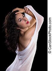 Mesh fabric dancer pose - Beautiful artist model posing in a...