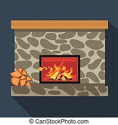Digital vector fireplace room with burning wood