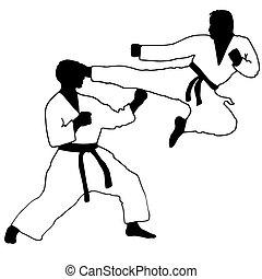 Karate. Sport. jump kick