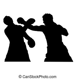 Boxers. Sparring. The fight in the ring. - High quality...
