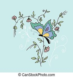 High quality original illustration of butterfly on sweet pea...