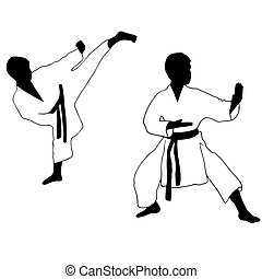 Karate boy. Sport. high kick in karate Isolated