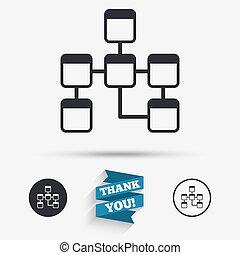 Database sign icon. Relational database schema. - Database...