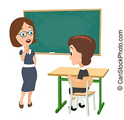 Surprised teacher with open mouth and schoolgirl sitting at a desk turning half-turned.