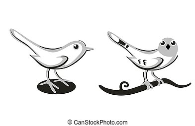Bird icon. Silhouette isolated on white background. Vector...