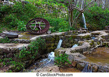 miniture waterfall - Resting place.Early Spring.Banias is a...
