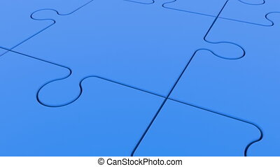 Moving rows of puzzle pieces with ball in blue