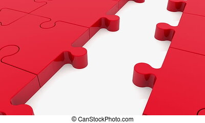 Moving rows of puzzle pieces with ball in blue and red...