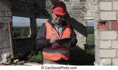 Builder writing and checking building