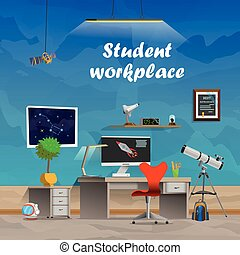 working student place - Student workplace. Space and...