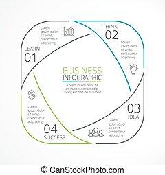 Vector circle arrows linear infographic - Circle arrows...