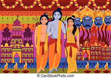 Happy Dussehra festival background forIndia holiday - vector...