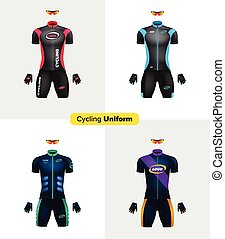 Realistic vector cycling uniforms. Branding mockup. Bike or...