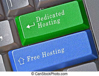 Keyboard with keys for free and dedicated hosting