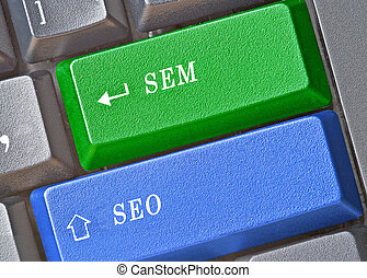 Keyboard with keys for SEM and SEO
