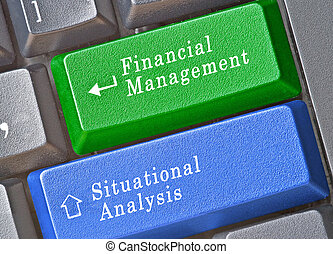 Keyboard with keys for financial management and situational...