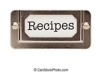 Recipes File Drawer Label