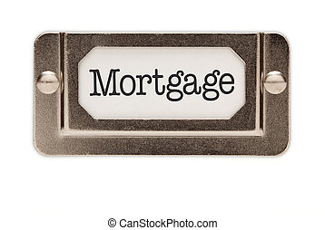 Mortgage File Drawer Label Isolated on a White Background