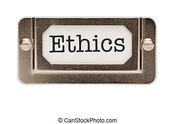 Ethics File Drawer Label Isolated on a White Background