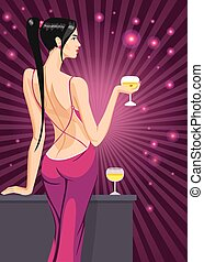 girl lady black hair standing back on the club with a glass...