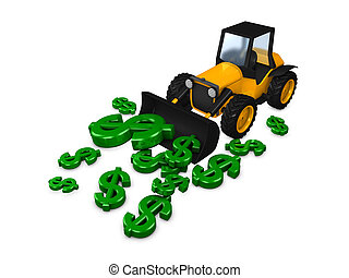 Tractor - 3d image, concept tractor and money