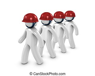 Workers - 3d image, conceptual, a group of workers