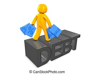 Spending and debt - 3d image, conceptual spending and debt