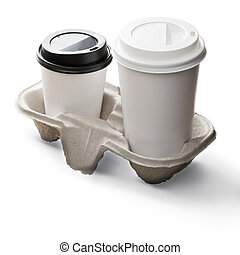 Take away coffee set including two disposable cups on a...