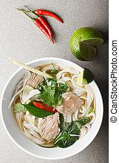 Vietnamese noodle pho bo soup overhead - Vietnamese...
