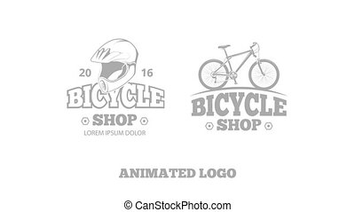 Bicycle riding animated logo on white background for sport...