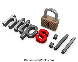 Https secure - 3d image, Hypertext Transfer Protocol Secure...