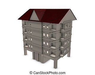 Apartment - 3d image, multi storey apartment