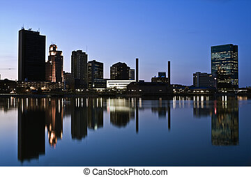 Downtown Toledo  - Downtown of Toledo, Ohio - night time.