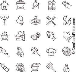 barbecue and grill icons for your design