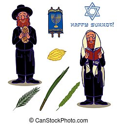 Judaism church traditional symbols icons set and jewish...